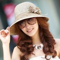 Siggi hat female summer dome double flowers strawhat sunbonnet female big beach cap sunscreen sun hat