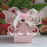 Free shipping 50pcs Laser Cut Pink Butterfly Wedding Candy Box Favor Box Pearlescent paper Chocolate Box Party Favor gift Box
