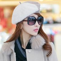 Siggi hat female winter autumn and winter color block decoration woolen beret painter cap warm hat british style