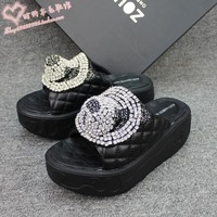 shoes for women 2013 summer sandals rhinestone sandals genuine leather plaid rhinestone platform flat heel casual sandals