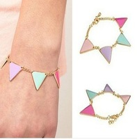 Sunshine jewelry store fashion colorful glazing triangle bracelet for women ( min order $10 mixed order )