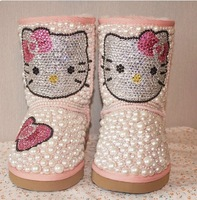 discount Free shipping Children rhinestone Colored pearls snow boots handmade children princess style fashion Warm snow boots