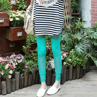 new 2013 Love Apartment 3 Wu Fei same paragraph gauze stitching leggings / pantyhose (green) autumn -summer