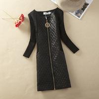2013 Womens dress fashion elegant PU cotton patchwork skirt slim basic long-sleeve dress ladys punk style dresses