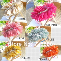 Hair Accessories Big Chiffon Flower with pearls flat back for girls women shoe flower head flower 20pcs/lot