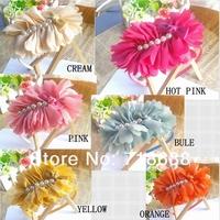 Hair Accessories Big Chiffon Flower with pearls flat back for girls women shoe flower head flower 20pcs/lot