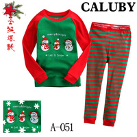 Retail Hot Merry Christmas Cotton Baby Pajamas Long Sleeve Children Sleepwear Santa Claus Children's Pj Kid's Sleeping Wear A051