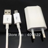 CN 1pcs EU Wall Charger + 1pcs Micro USB Data Sync Charging Cable For Samsung S3 S4 i9500 For HTC/Sony Charger Adapter,white