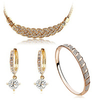 Christmas gift!!! 18K white gold plated austrian crystal women Necklaces & Pendants/earrings/bracelet fashion jewelry sets