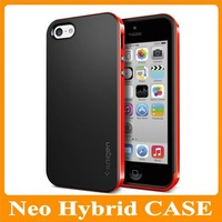 MOQ:1PCS Latest Style Neo Hybrid SPIGEN SGP Case for iPhone 5C Iphone5C Without Retail Packaging Drop Shipping