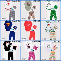 New, free shipping2013 new 100% cotton cartoon  baby pajamas  kids baby clothing 3 pcs sets