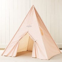 Log child cloth toy tent independent with window and orange,blue,green colors