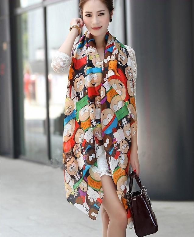 Free shipping 2013 novel cartoon figure fashion South Park silk scarf woman 's cape velvet chiffon scarf(China (Mainland))