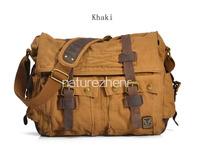 BAZ11 Vintage Washed Canvas Leather Shoulder bag messenger mailbag school work book laptop bag women girl boy men