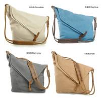 BAZ17 Canvas Leather Shoulder blue beige gray khaki messenger handbag school work book shopping bag women girl female