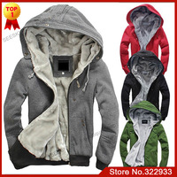 New Men's Plush Thick Warm Hoodie Overcoat Winter Coat Fleece & Men's Cotton Padded Jacket Men Jackets 6colors 6sizes