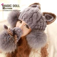 Magic large dolls autumn and winter Women yarn big fur wool ball yarn gloves  free shipping
