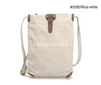 BAZ25 Canvas Leather Shoulder beige gray khaki messenger school work book shopping bag men boy male women girl female