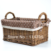 Elegant  Wicker Storage Basket with  liner  for Home and Garden Decoration