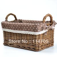 Elegant  Wicker Storage Basket with  liner  for Home and Garden Decoration