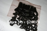 "Queen hair free part virgin Deep wave  4x4"" swiss lace top closures bleached knots free shipping"