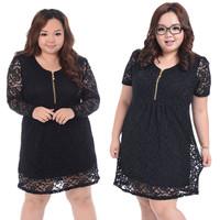 4XL Plus Size Women Dresses 2013 New Fashion Sexy V-Neck  Zipper Slim Black Lace Dresses Long Short Sleeve Bandage Dress