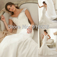 V-neck Organza Beaded Mermaid Wedding Dress Long Applique Details 2014 Cape Sleeve Bridal Floor Length