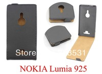 NEW COWSKIN HARD LEATHER FLIP CASE COVER FOR NOKIA LUMIA 925 FREE SHIPPING