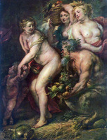 Oil painting Peter Paul Rubens - Venus with women cupid in landscape canvas 36""