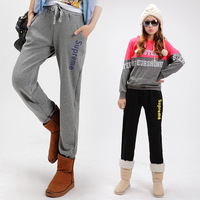 2013 women's trousers casual pants plus size clothing trousers plus velvet thickening pants