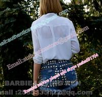 Freeshipping Brand women  spike rivet shorts fluorescence gradients round stud high waisted denim shorts VINTAGE