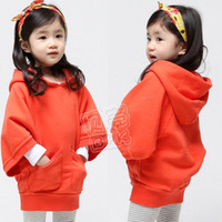 2013 autumn and winter loose batwing sleeve girls clothing child fleece with a hood sweatshirt outerwear wt-0835