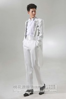 Piece set flower white male married tuxedo formal dress suit stage clothing