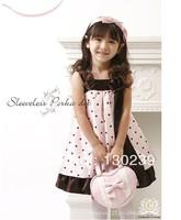New Arrival Child Girl Dress Cartoon Minnie Mouse Sleeveless Bow Decor Waist Tiered Dress Kids Girl Princess Drss Free Shipping