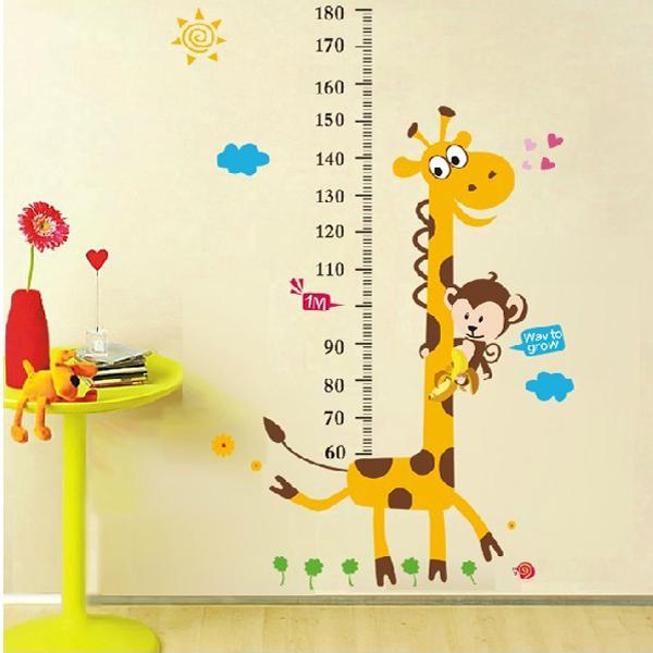 Duvar sticker ve zürafa çocuklar yüksekliği ölçme skalası