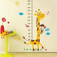 1Set Large Size 100*180cm Children Growth Chart Wall Sticker & Giraffe Kids Height Measuring Scale