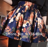 Spring and summer vintage high waist soloed slim basic bust skirt short skirt a-line skirt puff skirt pleated skirt A264