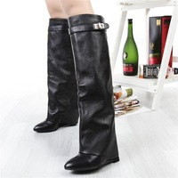 Free Shipping 2013 fashion genuine leather high-heeled boots elevator cowhide wedges boots straight pointed toe boots