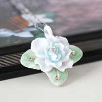 Free shipping Jingdezhen handmade ceramic flower pendant fresh aesthetic necklace female chain 925 chain