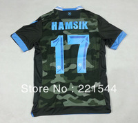 new 13/14 SSC Napoli away green soccer football jersey #17 HAMSIK  best thai quality soccer uniforms embroidery logo .Free ship