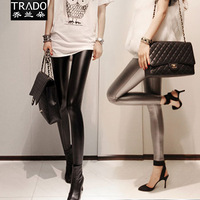 2013 slim female trousers leather pants autumn and winter PU pants female trousers tight