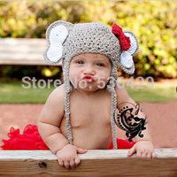Baby elephant style handmade Baby Crochet Animal Hats Beanies Handmade Infant Knit Cap Funny Winter Hats Minnie Elephant Design