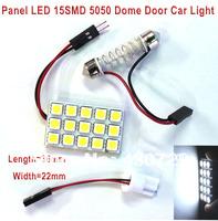 2 sets 2013 New T10 Festoon 2 Adapters 15 SMD 5050 white Light Ultra Bright  12V LED reading Panel Car interior Dome light