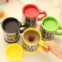 Free shippping Automatic coffee mixing cup/mug bluw stainless steel self stirring electic coffee mug 350ml
