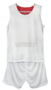Double faced mesh basketball clothes set jersey shirt reversible basketball training service training vest white red