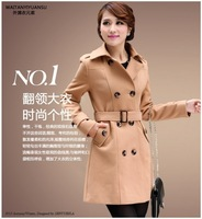 2014 autumn women's double breasted trench fashion slim medium-long woolen overcoat outerwear female