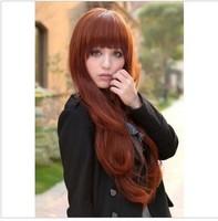 Wine red long Wig fluffy flat bangs medium-long kinkiness jumbo cute fashion wigs