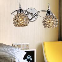 Free shipping Modern brief k9 double slider crystal wall lamp art lamp bed-lighting mirror light frha b14