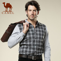 Camel men's clothing 2013 slim peaked collar long-sleeve shirt male casual plaid shirt