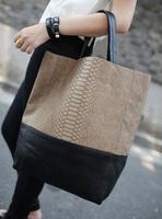 2014 fashion women's handbag brief stitching bucket big shoulder bag Multicolor Optional Free Shipping